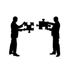 businessmen holding puzzle pieces vector image vector image