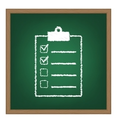 Checklist sign white chalk effect on vector