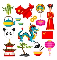 China icons set chinese symbols and objects vector