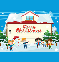 christmas card template with kids in the snow vector image