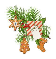 christmas festive decoration vector image