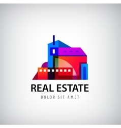 Colorful geometric building logo vector