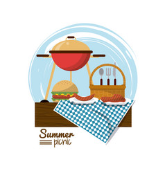 Colorful logo summer picnic with charcoal grill vector