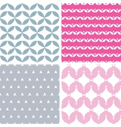 Four wavy pink and gray abstract geometric vector