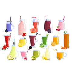 fruit smoothie colorful icons set vector image vector image