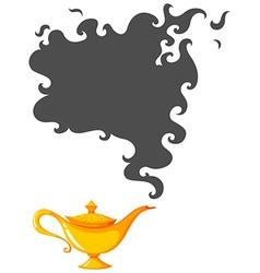 Golden lamp with dark smoke vector image vector image