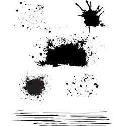 grunge blot set black color isolated vector image