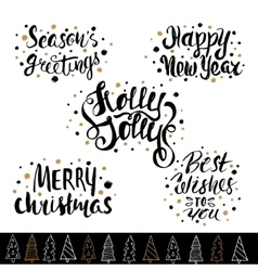 Hand drawn holiday lettering Christmas collection vector image