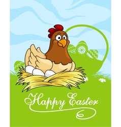 Happy Easter card design with a hen vector image
