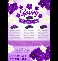 Hello spring floral poster template design vector