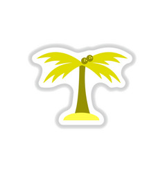 labels with shadow flat icon palm tree vector image vector image
