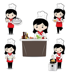 Little girl chef vector image