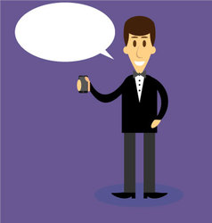 Man with smartphone bubble speech vector image vector image