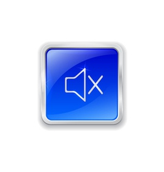 Mute icon on blue button vector image vector image