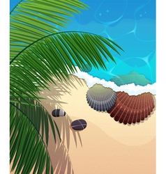 Ocean coast with palm branches vector