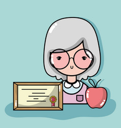 Old woman teacher with diploma and apple fruit vector