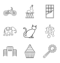 performance of animal icons set outline style vector image