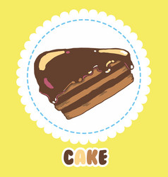Piece of chocolate cake with icing cake icon vector