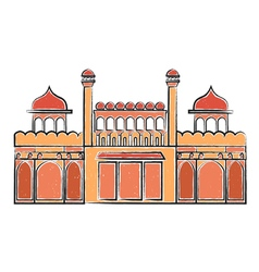 Red fort lal quila vector