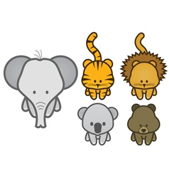 Set of cartoon wild or zoo animals vector
