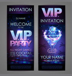 Set of disco background banners vip cocktail vector