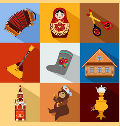 Set of Russia travel colorful flat icons Russian vector image vector image
