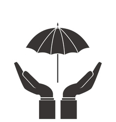 Shelter hand with umbrella icon vector