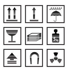 shipping box and signs icons vector image