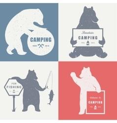 Sign bear camping vector