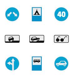 traffic signal icons set flat style vector image