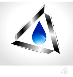Water Drop Design in Metal Triangle vector image vector image