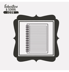 Notebook for school inside frame design vector
