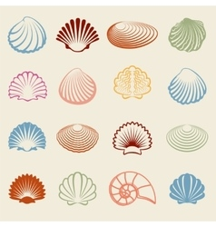 Colorful sea shells silhouettes set vector