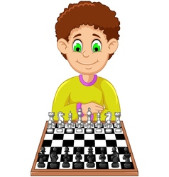 Funny boy cartoon playing chess vector