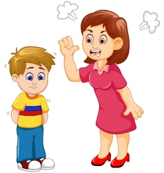 Cartoon mather scolding her son vector