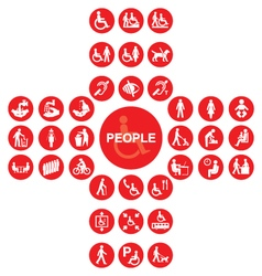 Red disability and people icon collection vector