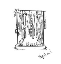 Clothes rack vector