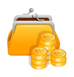 Icon purse and cash vector