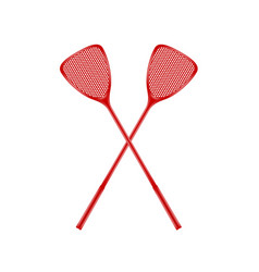 Two crossed fly swatters in red design vector