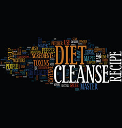 Master cleanse diet recipe recipe to success text vector