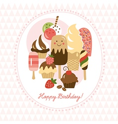 Greeting card with cute ice-cream and cakes vector