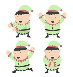 Christmas elves fat and different poses vector