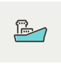 Cargo container ship thin line icon vector