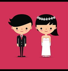 Groom and bride wedding characters vector