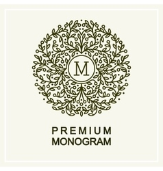 Stylish floral monogram  line art vector