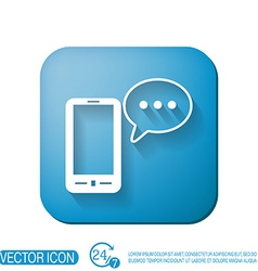 Smartphone with cloud of speaking dialogue vector