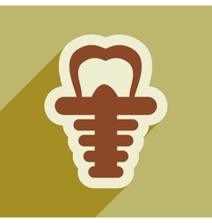 Icon of artificial tooth in flat style vector