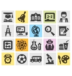 Education school set black icons signs and vector