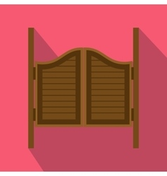 Doors in western saloon icon flat style vector
