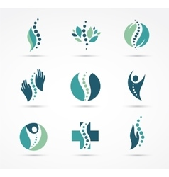 Chiropractic massage back pain icons vector image